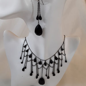 Designer SET Black Nickle Plated Necklace Earrings